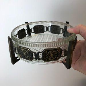MCM Glass Dish with Metal Base